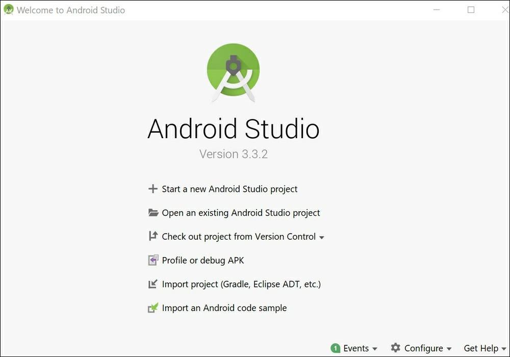 صفحه اصلی اندروید استودیو امکان ساخت پروژههای جدید، باز کردن پروژههای موجود، وارد کردن نمونه کدها، دیباگ کردن APK ها و کنترل پروژه از طریق نرمافزار کنترل نسخه را فراهم میکند.