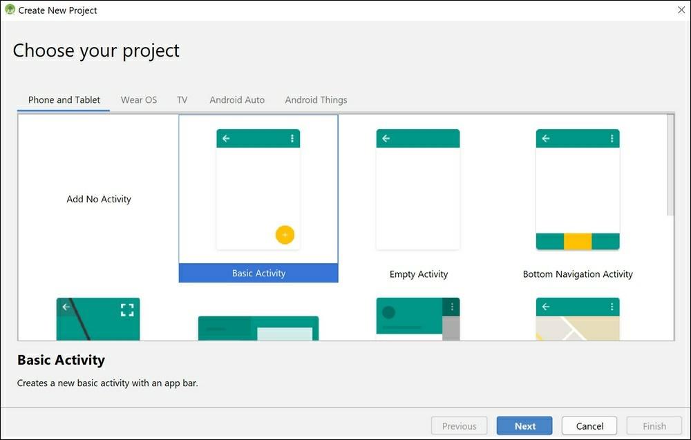 در این صفحه میتوانید انواع مختلفی از الگوهای ساخت برنامههای اندرویدی را انتخاب کنید.