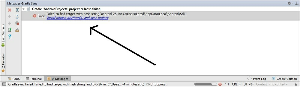 اگر این پیغام خطا را مشاهده کردید، روی پیوند Install missing platform(s) and sync project کلیک کنید. موارد ذکر شده مربوط به اعتبارنامه را قبول کنید، روی دکمه Next و سپس finish کلیک کنید.