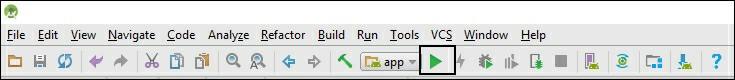 با کلیک روی دکمه اجرای سبز رنگ نشان داده شده در ابزار، امکان اجرای شبیهساز و برنامهای که ساختهاید فراهم میشود.